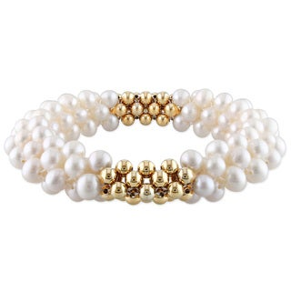 M by Miadora Goldtone Bead and White Cultured Freshwater Pearl Elastic Bracelet (6-6.5 mm)