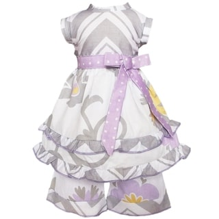 AnnLoren 2-piece Grey/ Lilac Chevron Doll Outfit