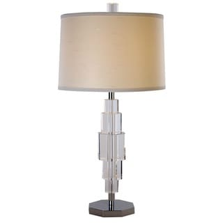 Cascades Crystal Ivory 1-light Polished Chrome Table Lamp