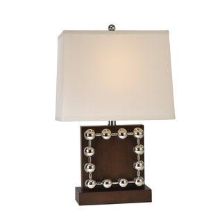 Sheffield Square 1-light Espresso Wood/ Stainless Steel Table Lamp