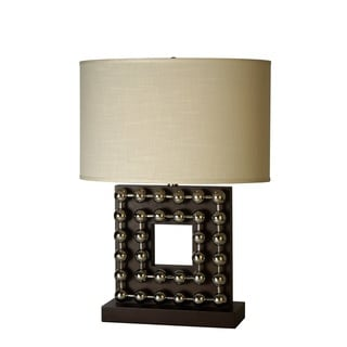 Preston Square 1-light Espresso Wood Table Lamp