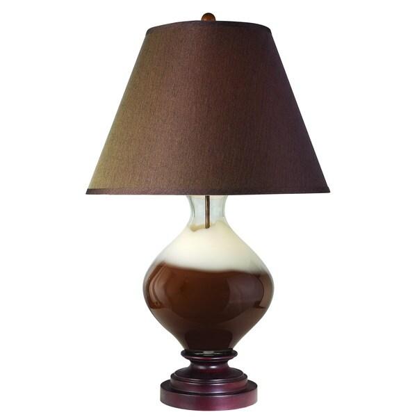 Caramel 1-light Walnut Wood Table Lamp