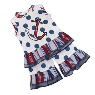 AnnLoren 2-piece Red/ Blue Nautical Anchor Doll Outfit