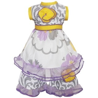AnnLoren 2-piece Grey/ Lilac Floral Damask Doll Outfit