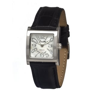 Bertha Women's 'Bettie' Black Strap White Analog Watch