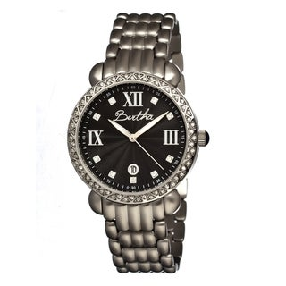 Bertha Women's 'Ruth' Stainless Steel Black Analog Watch