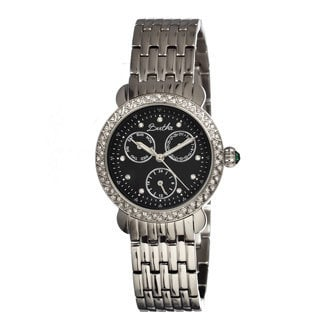 Bertha Women's 'Daniella' Crystal Accent Stainless Steel Black Dial Watch