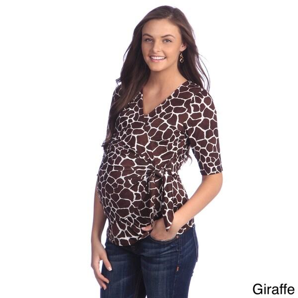 Ashley Nicole Maternity Women's Printed Faux Wrap Top