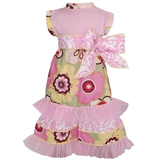 AnnLoren 2-piece Pink/ Green Floral Doll Outfit