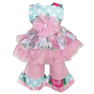 AnnLoren Pink/ Blue Rose Dot Doll Outfit