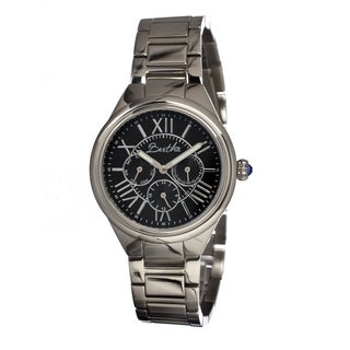 Bertha Women's 'Rachel' Analog Stainless Steel Black Watch