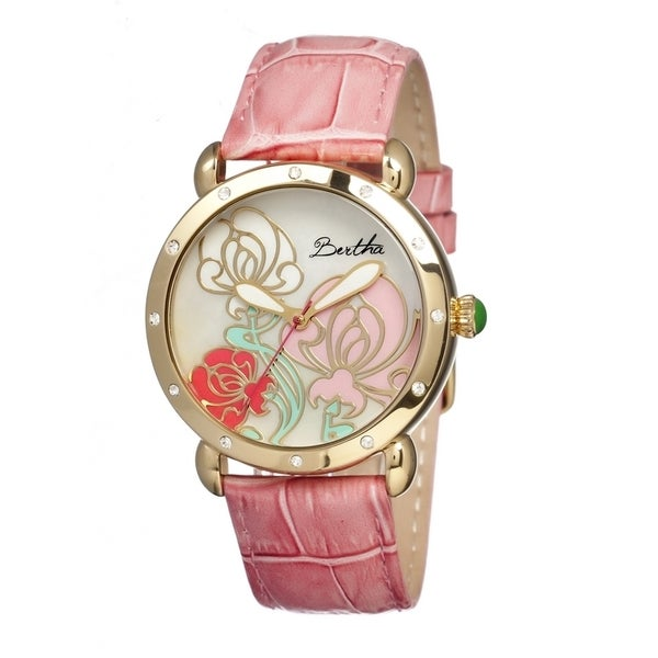 Bertha Women's 'Josephine' Embossed Leather Strap Multi-Color Dial Watch