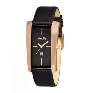Simplify '1105 The 1100' Black Leather Strap Rose Gold-Tone Bezel Watch