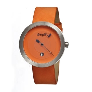 Simplify Men's '0304 The 300' Orange Leather Strap Watch