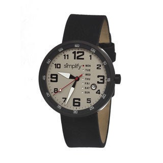 Simplify Men's '0803 The 800' Black Leather Strap Watch