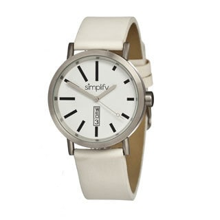 Simplify '0402 The 400' White Leather Strap Watch