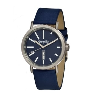 Simplify '0406 The 400' Blue Leather Strap Watch