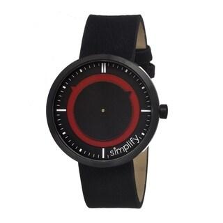 Simplify Men's '0702 The 700' Black Leather Strap Watch