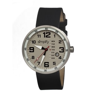 Simplify Men's '0801 The 800' Black Leather Strap Grey Dial Watch