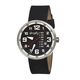 Simplify Men's '0802 The 800' Black Leather Strap Black Dial Watch