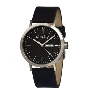 Simplify Men's '0101 The 100' Black Leather Strap Black Dial Watch