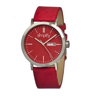 Simplify '0105 The 100' Red Leather Strap Red Dial Watch