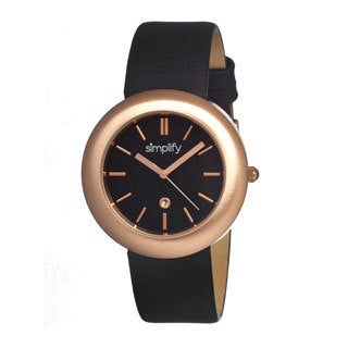 Simplify '0904 The 900' Black Leather Strap Rose Gold-Tone Watch