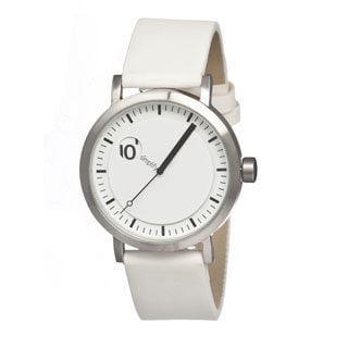Simplify '0203 The 200' White Leather Strap Watch