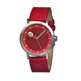 Simplify '0205 The 200' Red Leather Strap Watch