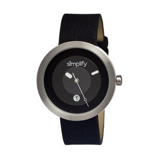 Simplify '0301 The 300' Black Leather Strap Watch