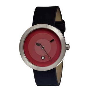 Simplify Men's '0305 The 300' Black Leather Strap Red Dial Watch