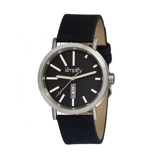 Simplify '0401 The 400' Black Leather Strap Watch