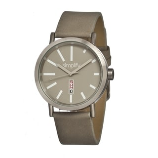 Simplify '0405 The 400' Grey Leather Strap Watch