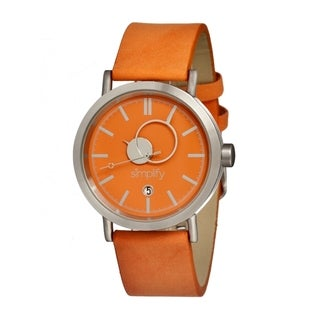 Simplify '0603 The 600' Orange Leather Strap Watch