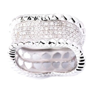 Sterling Silver 1/2ct TDW Pave Texture Edge Diamond Heart Band Ring (H-I, I2-I3)