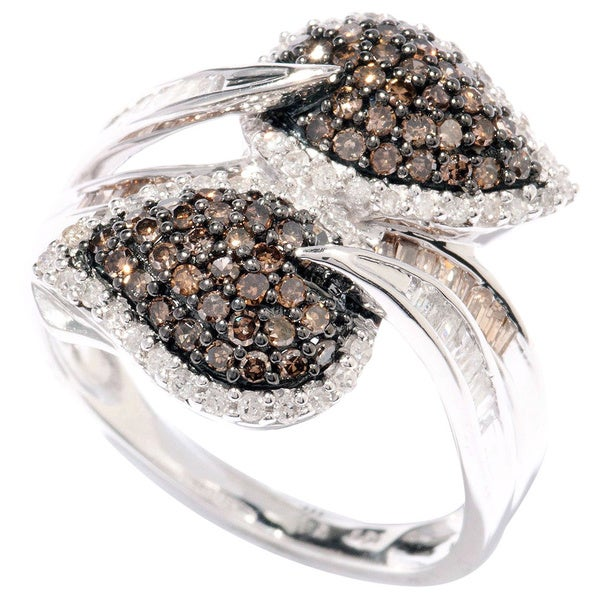 Sterling Silver 1ct TDW Brown & White Diamond Wraparound Leaf Ring (H-I, I2-I3)