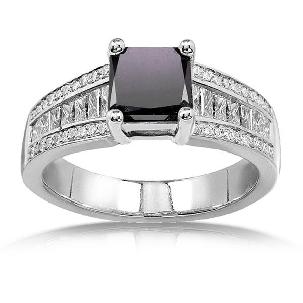Annello 14k White Gold 2 5/8ct TDW Princess Black and White Diamond Ring (H-I, VS1-VS2)