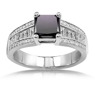 Annello 14k White Gold 2 5/8ct TDW Princess Black and White Diamond Ring (H-I, VS1-VS2)