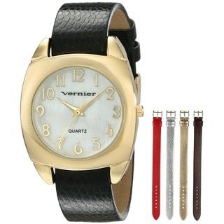 Vernier Women's V11120YG Goldtone Case Interchangeable Metallic Strap Watch Set
