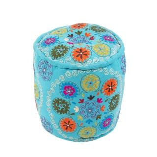 Modern Blue Cylinder Shape Cotton 16-inch Pouf