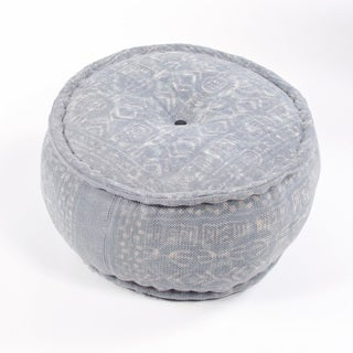 "Modern Gray Cylindrical Shape Cotton (24""x24""x12"") Pouf"