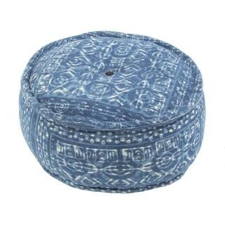 "Modern Blue Cylindrical Shape Cotton (24""x24""x12"") Pouf"