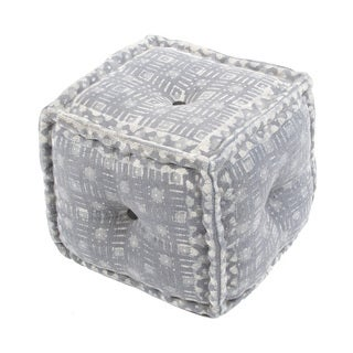 "Modern Gray Cube Shape Cotton (16""x16""x16"") Pouf"