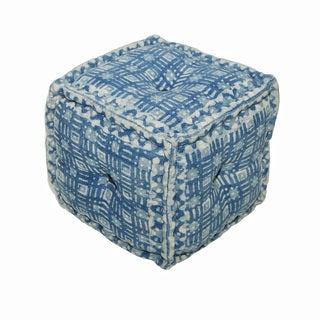 """Modern Blue Cube Shape Cotton (16""""x16""""x16"""") Pouf"""