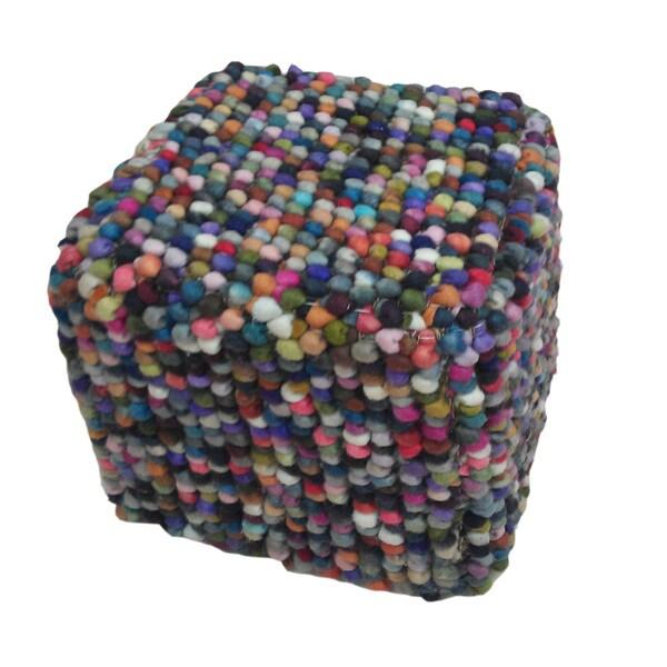 "Modern Multi Cube Shape Wool (16""x18""x18"") Pouf"