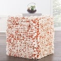Modern Red Cube Shape Wool (16x18x18) Pouf