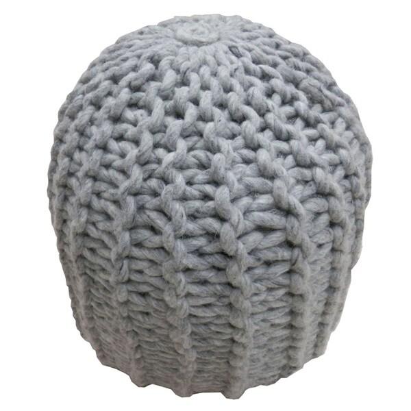 Modern Grey Cylinder Shape Wool 18-inch Pouf