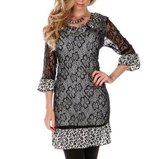 Firmiana Women's Floral Lace Sheer Mixed Print Top