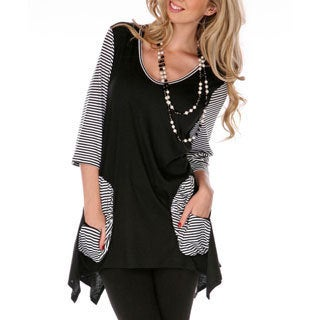 Women's Women's Black and White Spliced Top