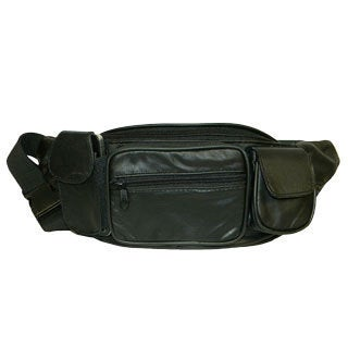 Hollywood Tag Large Black Leather Fanny Pack